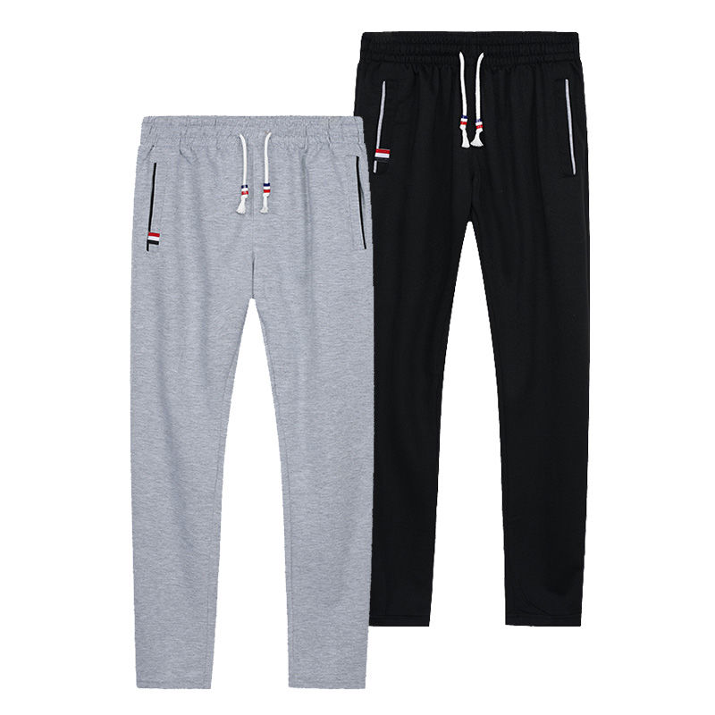Sweatpants Plus Size Men Joggers Track Pants Elastic Waist Casual Trousers Baggy Fitness Gym Clothing Black Grey