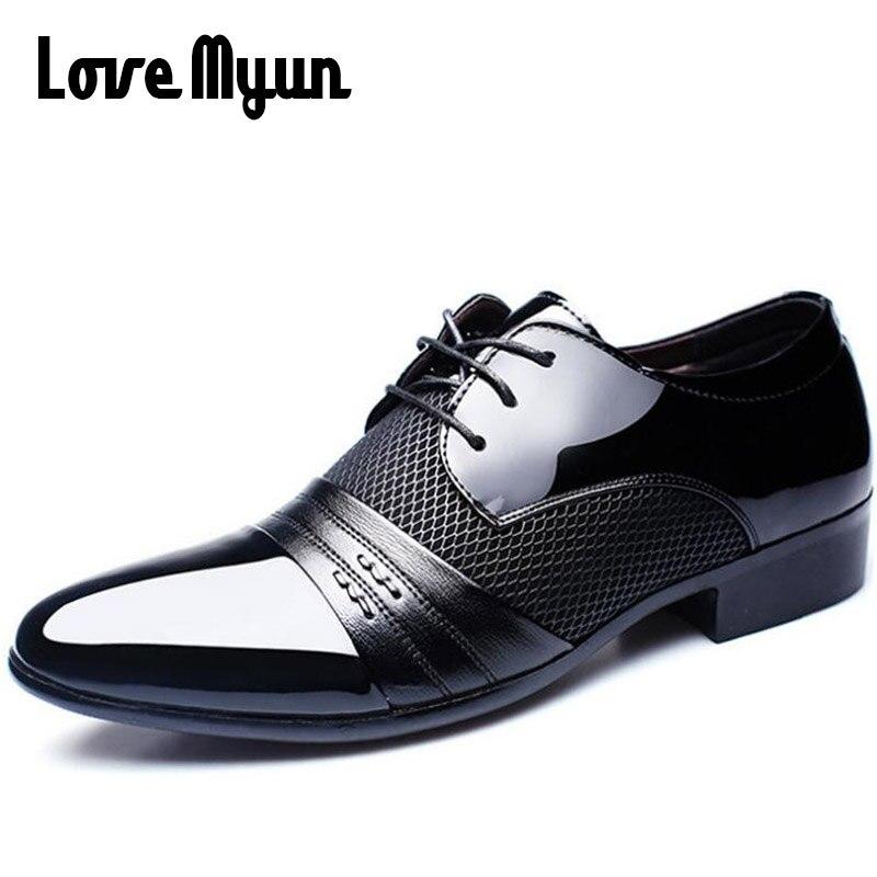 Cheapest Ufficio di Lavoro scarpe mens pelle verniciata scarpe business scarpe da sposa lace up scarpe A punta piatto grande formato 37-47 AB-01