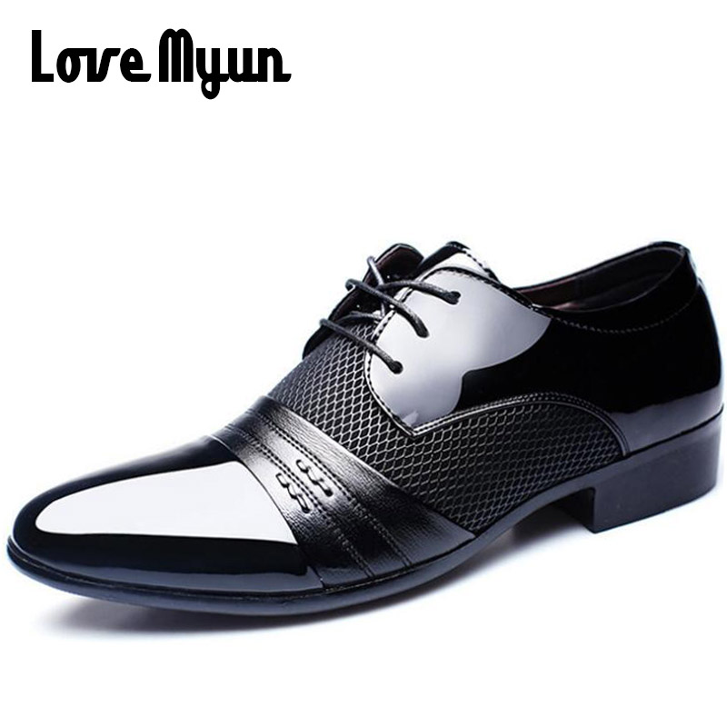 Cheapest Working Office shoes mens patent leather shoes business wedding shoes lace up Pointed toe flat big size 37-47 AB-01 2017 men s cow leather shoes patent leather dress office wedding party shoes basic style pointed toe lace up eu38 44 size
