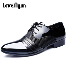 Cheapest Working Office shoes mens patent leather shoes business wedding shoes lace up Pointed toe flat