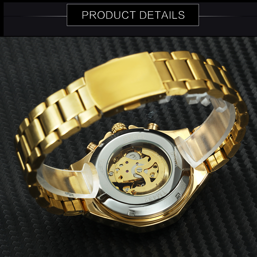 2019 T-WINNER Watch Men Automatic Mechanical Steel Mens Watches Top Brand Luxury Skeleton Golden Wristwatch Hot Male Clock