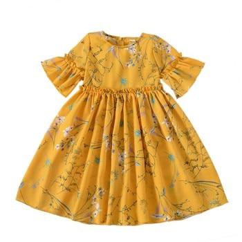 a456a2b369b Летнее шифоновое платье для девочек От 1 до 7 лет Детские платье принцессы  хлопок цветочные шифоновые платья для девочек одежда