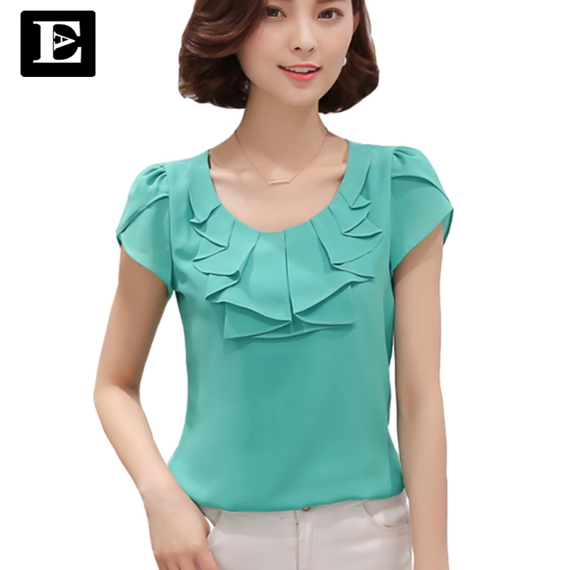 EveingAsky Office Women Shirts Blouses White Pink Purple Elegant Ladies Chiffon Blouse Short Sleeve Womens Tops Chemise Femme