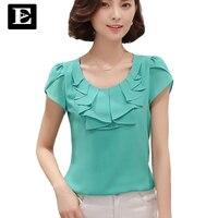 Office Women Shirts Blouses White Pink Purple Elegant Ladies Chiffon Blouse Short Sleeve Womens Tops Chemise