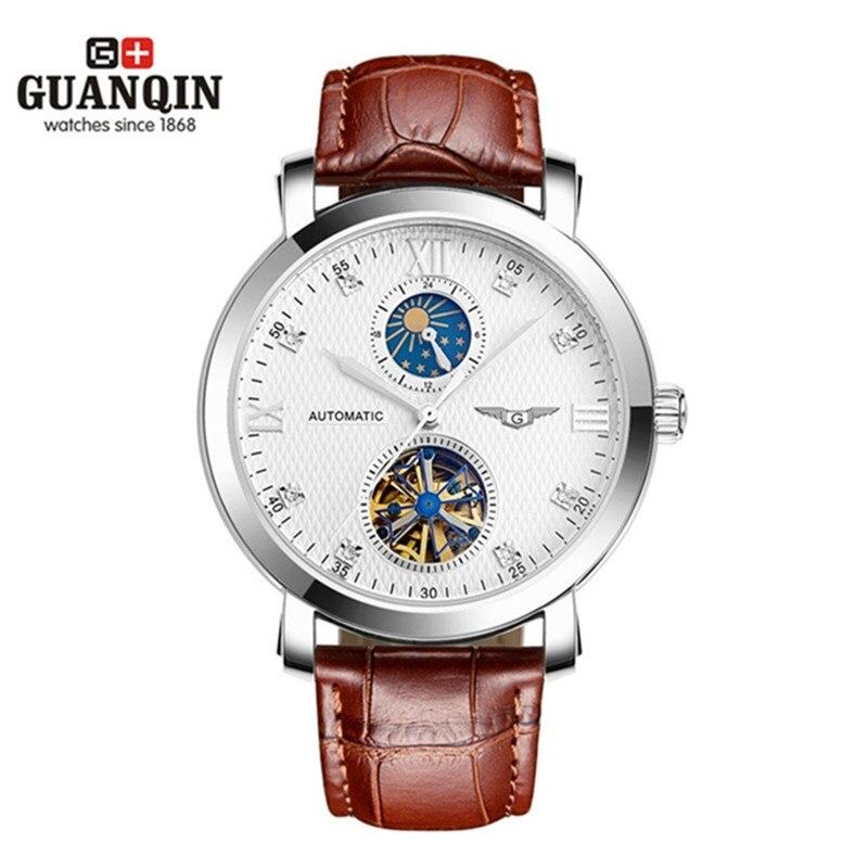 Marque célèbre GUANQIN hommes montres Tourbillon montre soleil et lune montre militaire hommes en cuir antichoc étanche montres