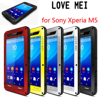 LOVEMEI Dirt resistant Anti knock Metal Aluminum Cases Cover with Gorilla Glass for SONY Xperia M5 E5603 Heavy Duty Protection