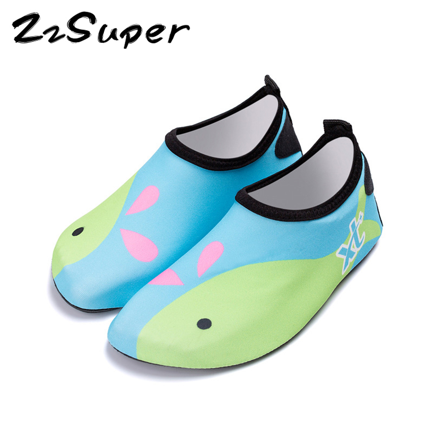 Kids Adult Quick Drying Swim Water Shoes Footwear Barefoot LightWeight Diving Socks Beach Pool Cartoon Parents Children Slippers