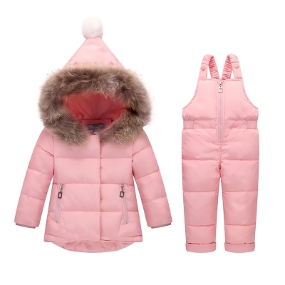 Children Clothing Sets Jumpsuit Snow Jackets+bib Pant 2pcs Set 2018 Winter Baby Boy Girls Duck Down Coats Jacket With Fur Hood