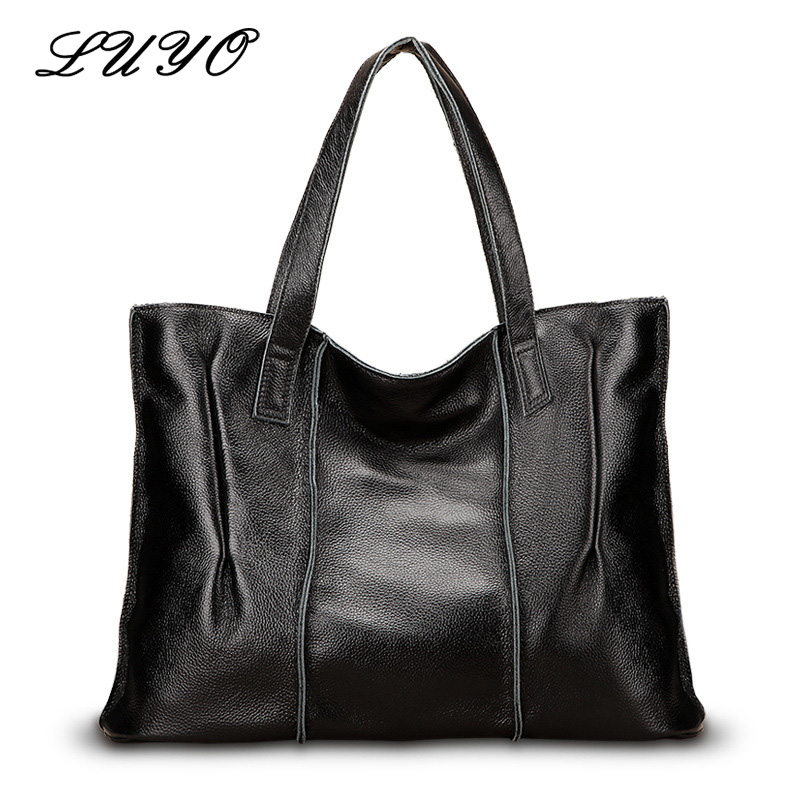 Luyo Brand New Retro High Quality Genuine Cow Leather Large Women Casual Tote Bag Ladies Handbag Luxury Shoulder Bags Female female handbag bag fashion women genuine leather cowhide large shoulder bag crossbody ladies famous brand big bags high quality