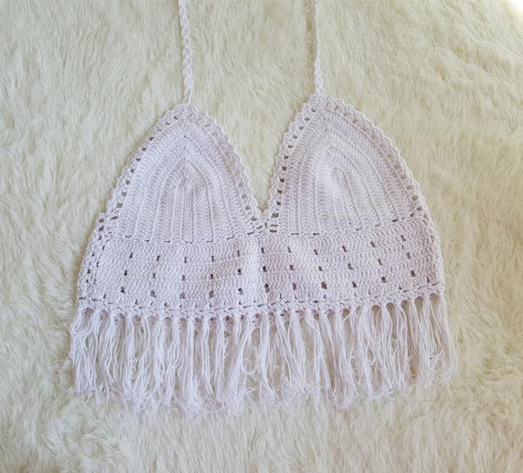 De las mujeres calientes Hollow flecos Bikini de punto hecho a mano ...