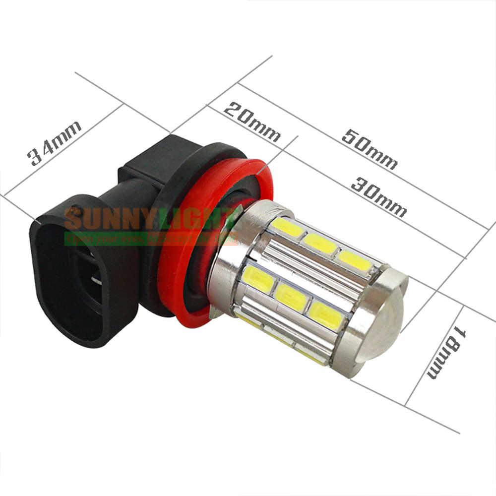 CNSUNNYLIGHT High Brightness H11 H8 H9 21 LED 5730 SMD Car Day Running Light Fog Lamp Bulb Super White 6000K 12V with Lens
