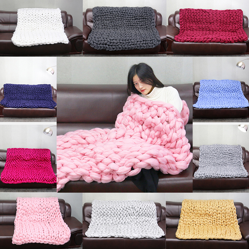 Handmade Chunky Knitted Blanket Thick Yarn Merino Wool Bulky Knitted Blanket Warm Winter Sofa Bed Home Decor Throws Blankets 200