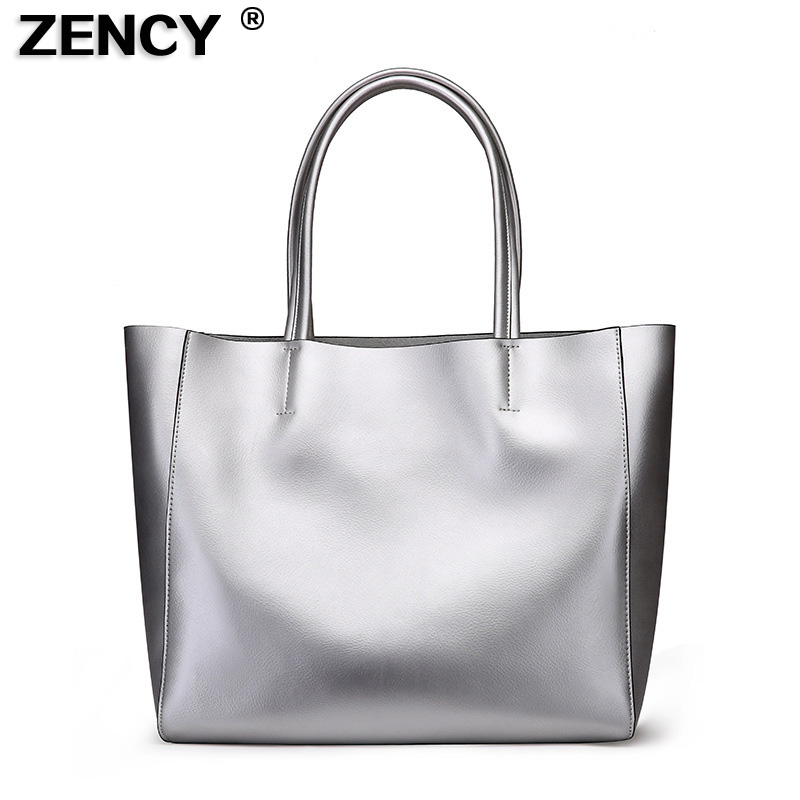 2018 New Large Capacity Women Genuine Leather Silver Tote Shopping Bags Female Woman Pearl Light Cow Leather Shoulder Handbag aodux 2018 new famous brand women tote shopping bags female genuine leather woman second layer cow leather shoulder shopping bag