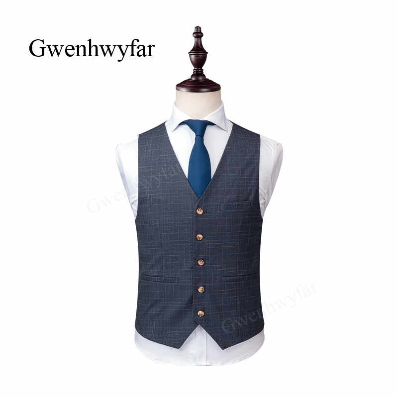 Gwenhwyfar 2018 秋男性の結婚式のスーツノッチラペル 3 ピーススリムフィットフォーマルパーティータキシードメンズグレータキシードジャケット