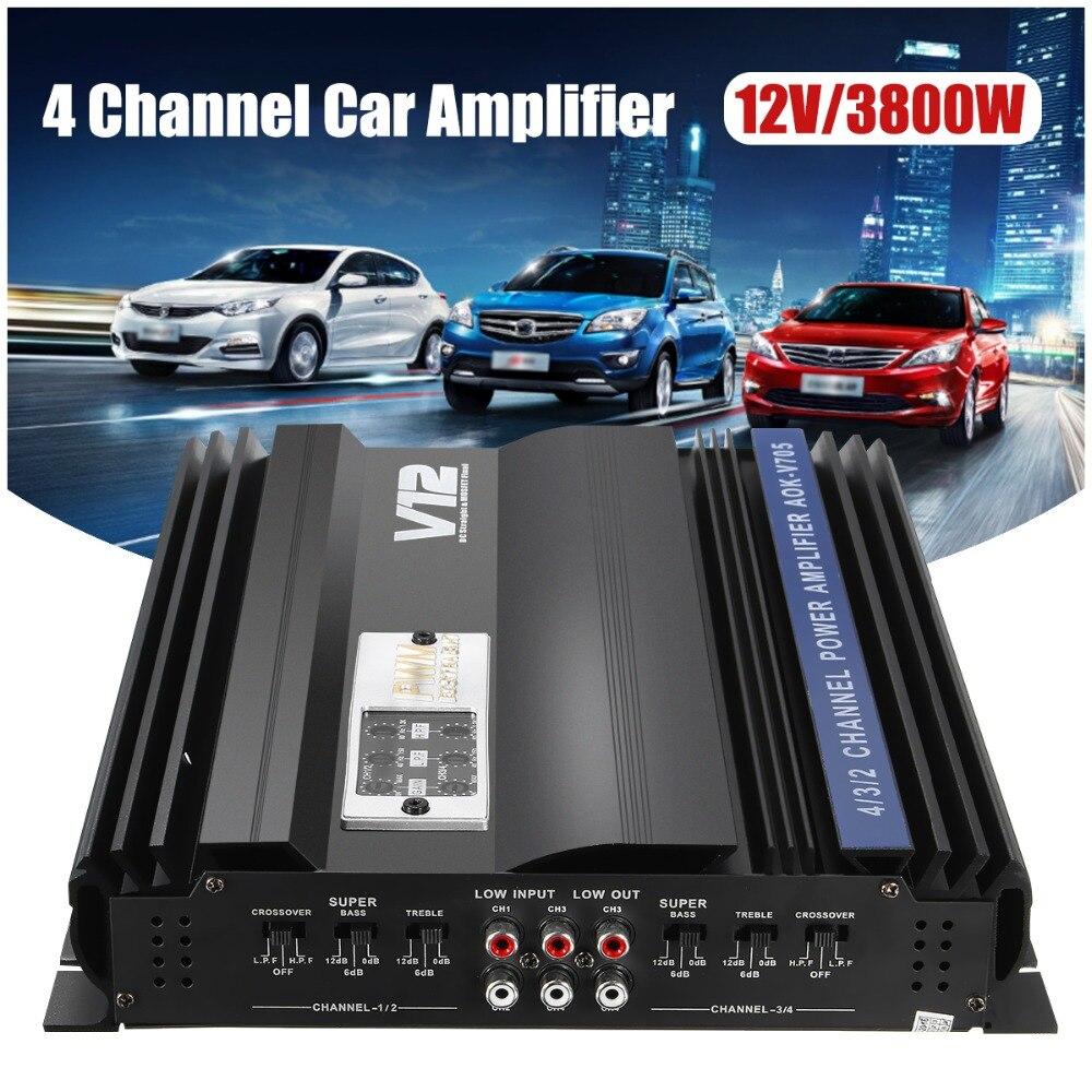 KROAK 3800 Вт RMS В 4 канала 12 В усилитель аудио Bluetooth автомобильный аудио стерео усилитель динамик металлический автомобильный усилитель автомоб...