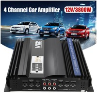 KROAK 3800W RMS 4 Channel 12V Amplifier Audio bluetooth Car Audio Stereo Amplifier Amp Speaker Metal Car Amplifier Car Subwoofer