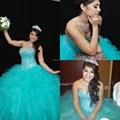 Contas de cristal de Organza vestido de baile vestidos Quinceanera lilás Tieres de 15 anos YH442
