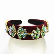 Novia tiaras corona barroca rhinestone Cuentas cintas para el pelo de cristal terciopelo ancho Bandas para la cabeza mujeres boda Bisutería para pelo novia 817