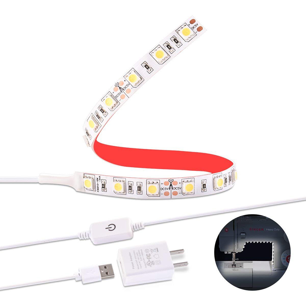 Sewing Machine LED Light Waterproof 50cm 30leds led Strip Lighting kit with Touch Dimmer and USB Power Fits All Sewing Machines