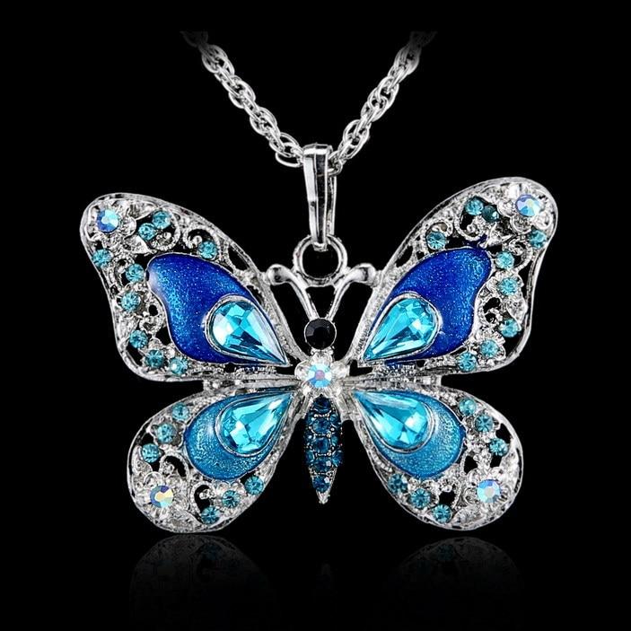 Women Party Blue Purple Butterfly Rhinestone Crystal Pendant Necklace