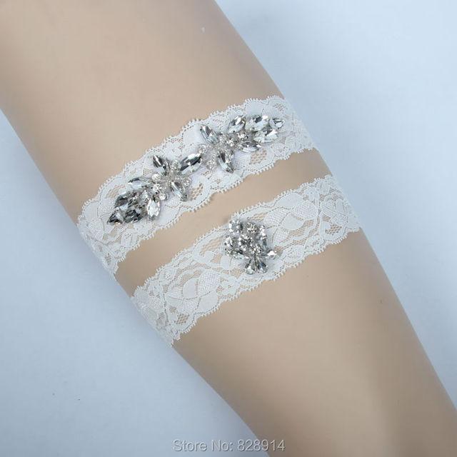 luxe crystal applique kant wedding kousenband bruid been