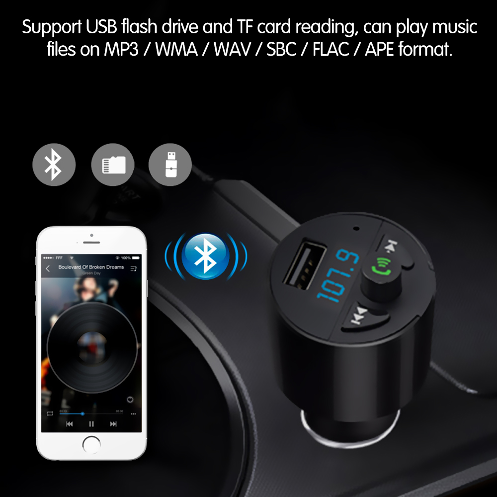 US $8 69 35% OFF|Onever BTC2 FM Transmitter Modulator Music Player Support  U Disk/TF Card 2 5A USB Charger Bluetooth Car Kit DC 12V-in FM Transmitters