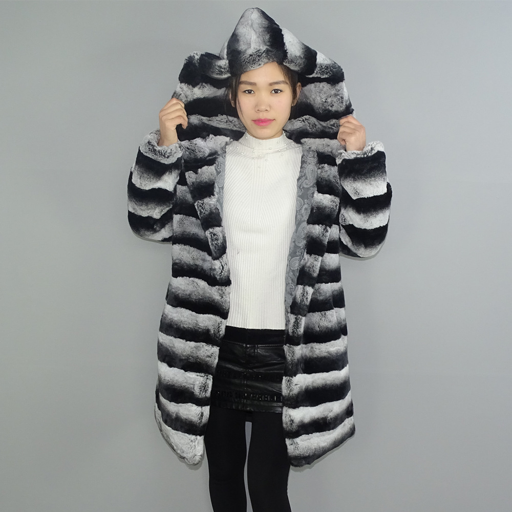 Real Fur 2019 New Models Fashion Collocation Chinchilla LEXUS Rex Fur Coat Woman 8