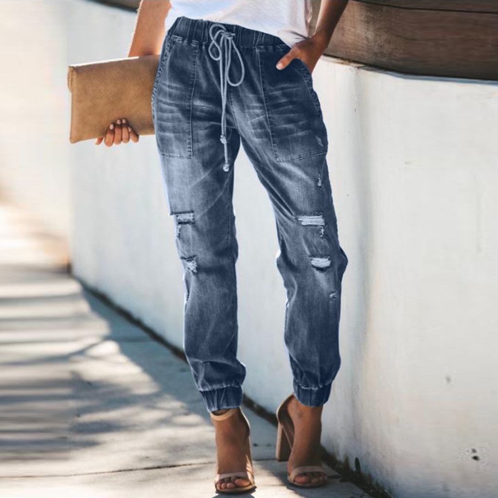 2020 Womens Elastic Waist Casual Pants High Waist Jeans Casual Blue Denim Pants newest style hot sale fashion summer trousers