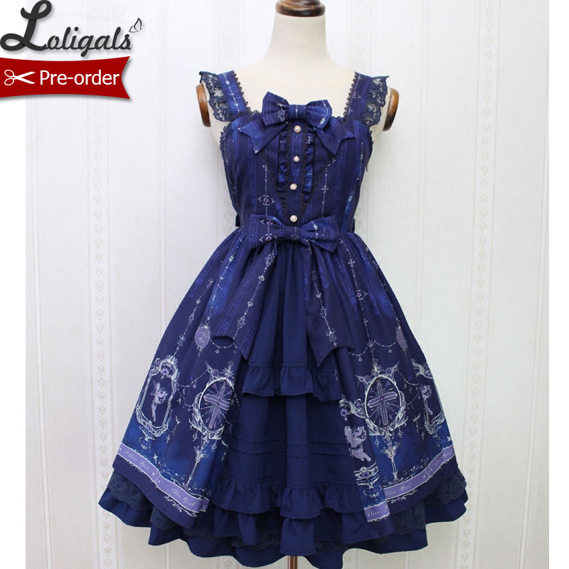 Angel and Cross Sweet Printed Casual Lolita Dress Mori Girl Sleeveless Short Dress by Alice Girl