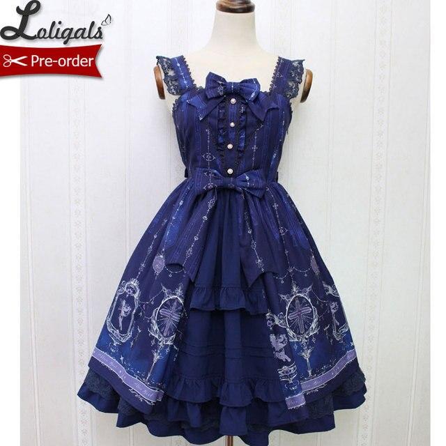 1a2b35e39c Angel and Cross ~ Sweet Printed Casual Lolita Dress Mori Girl Sleeveless  Short Dress by Alice Girl ~Pre-order