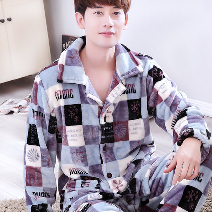 winter Flannel XL Leisure Men Long-sleeved home service suits