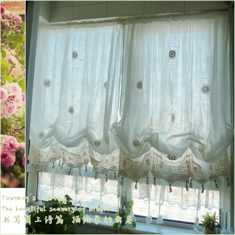 150*175cm Pastoral Style Adjustable Balloon Curtain Living Room Shade White Window Treatment Curtains For Windows