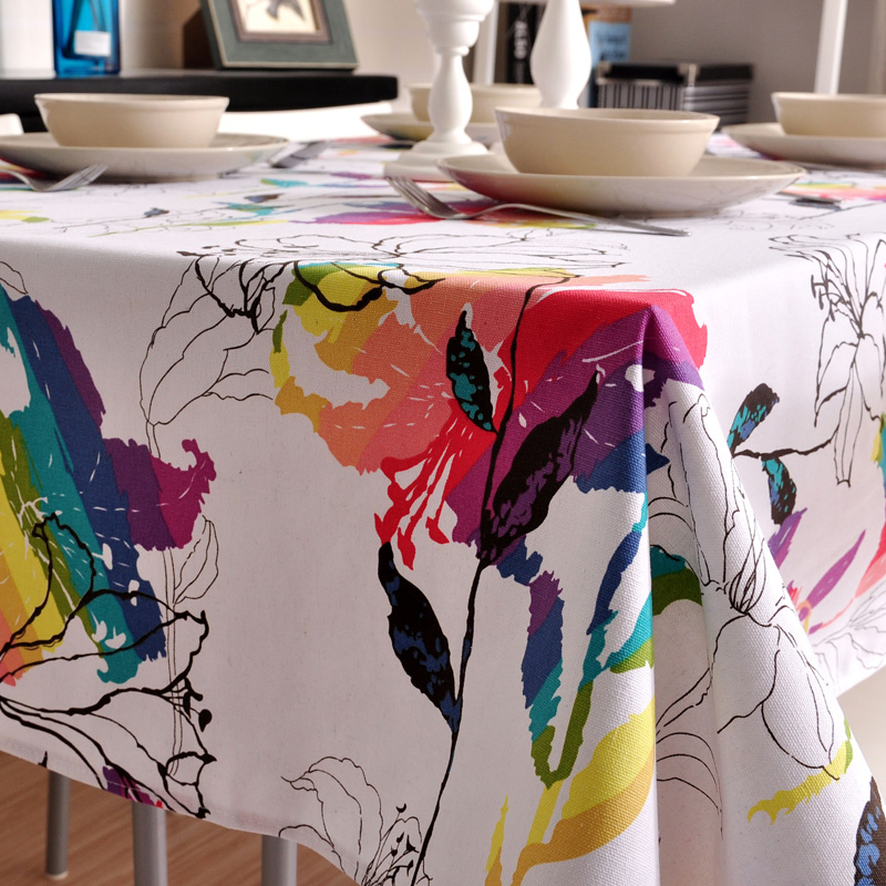 Kingart Colorful Tablecloth Hand Cotton Dinning Room Table Cloth Red and Blue Color Table Cover