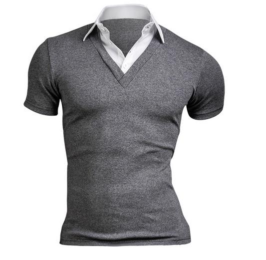 Summer 2019 Fashion Men's T-shirt Casual Stitching Short Sleeve Men's T-shirt Men's Casual Slim Top