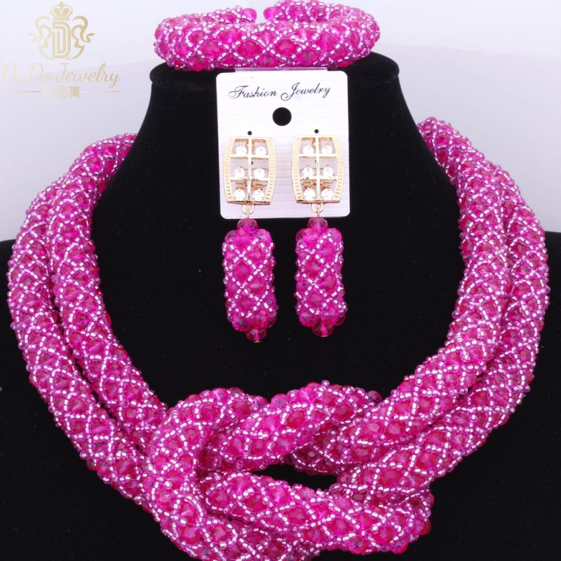 Gorgeous 2017 Hot Pink Nigerian Wedding African Beads Jewelry Sets 2 Layers Beads For Brides <font><b>Cross</b></font> Fashion Costume Necklaces Set