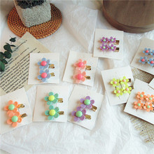 1 Pair Korean Simple Cute Sweet Colorful Flower Small Duckbill Clip for Girl Women Fashion Exquisite Beautiful Hairpins Headwear