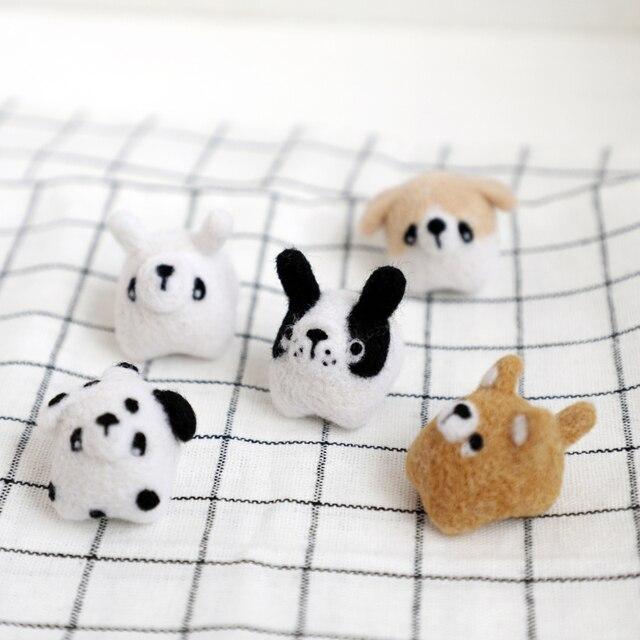 Dogs Wool Felt Handmade Animal For Beginner Diy Craft Kit Wool Felt
