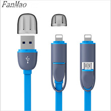 Micro USB Cable Colorful 8Pin 2 in 1 Sync Data Charging USB Cable for IOS 5 6 6s Fast Charger Cable for Android Smartphone