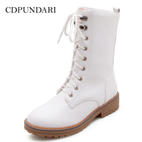 CDPUNDARI Lace Up Low heel Ankle boots for women Motorcycle boots Ladies platform Winter Boots shoes woman white black