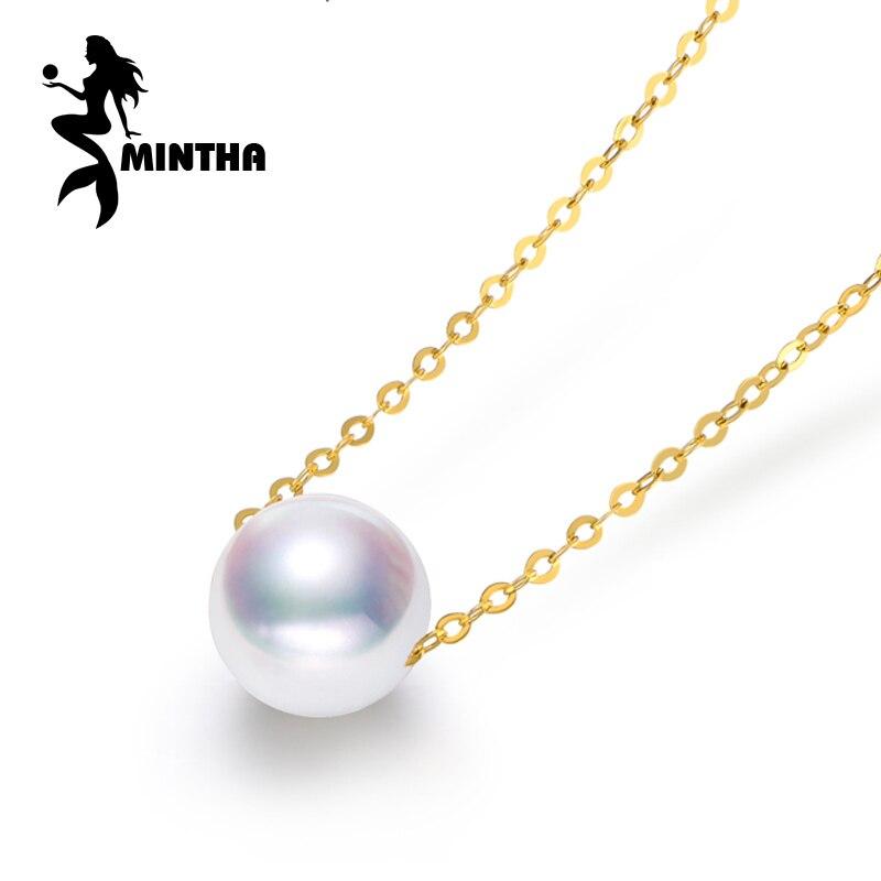 MINTHA 18 K or colliers perle bijoux colliers et pendentif pour les amoureux bijoux fins perle pendentifs vintage vrai or colliers