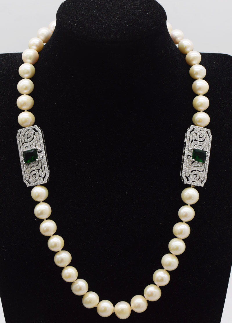 freshwater pearl white round AA 11-12mm and green zircon  necklace wholesale 21inch  FPPJ  nature beads gift freshwater pearl white round AA 11-12mm and green zircon  necklace wholesale 21inch  FPPJ  nature beads gift