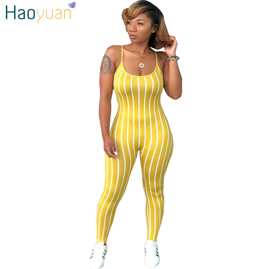 HAOYUAN Sexy Bodycon   Jumpsuits   Spaghetti Strap Club Striped Bodysuit Casual Overalls Backless One Oiece Rompers Womens   Jumpsuit
