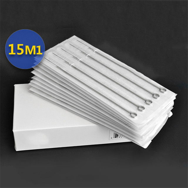 Permanent Makeup 50Pcs/Box 15M1 Disposable Sterile Tattoo Needles For Tattoo Gun Machine Grip Tube Kit Sets Tattoo Supplies
