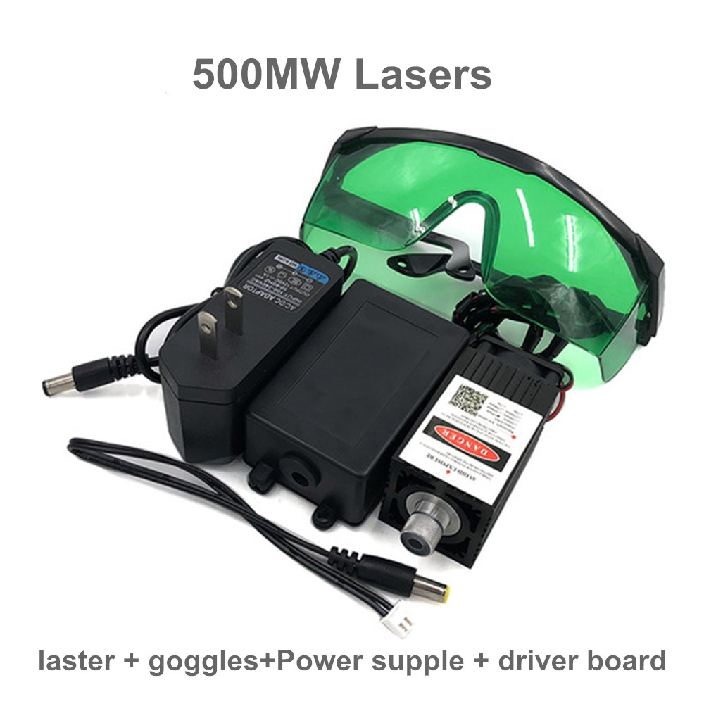 500mw 405NM focusing blue purple laser module engraving,with TTL control laser tube diode+ goggles+ Power supple + driver board 500mw 405nm focusing blue purple laser module engraving laser tube diode hx2 54 2p port protective goggles