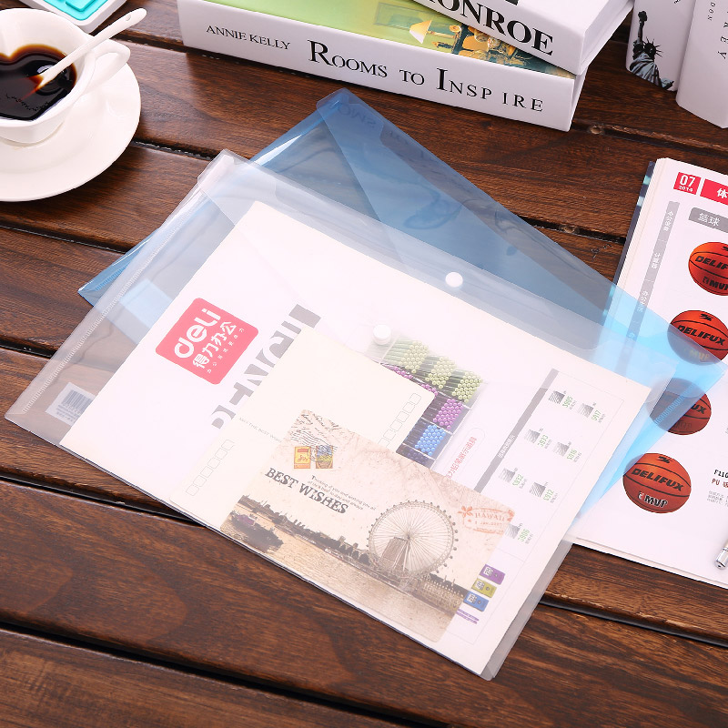 50Pcs File Folder A4 Transparent Document Bag Hasp Button Classified Storage Stationery Bag File Holder Office School