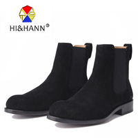 Men Nubuck Leather Black Fashion Boots Goodyear Handmade Genuine Leather Outsole Men Boot Size US 6 13 Free shipping