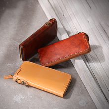 YIFANGZHE Retro Long Wallet for Men & Women, Genuine Leather Purse with Premium Bronze Hardware Organlized Cash &Credit Cards