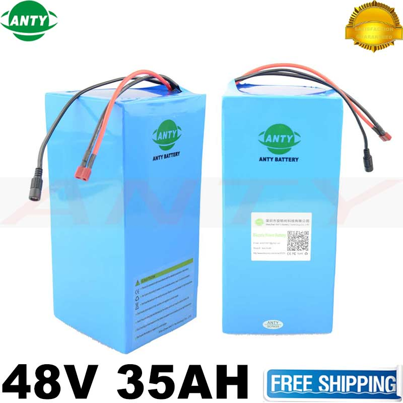 eBike Battery 48V 35Ah 2000W 18650 Lithium Battery Pack For 48V Electric Bike Drive Motor With 54.6V Charger 50A BMS Battery Kit 48v 34ah triangle lithium battery 48v ebike battery 48v 1000w li ion battery pack for electric bicycle for lg 18650 cell