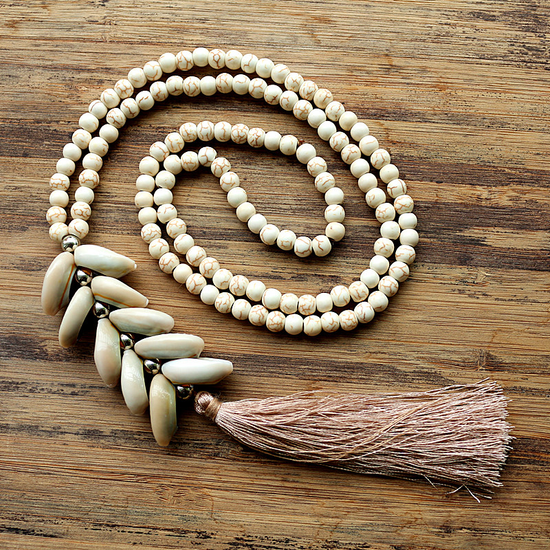 6mm White stone bead necklace with handmade Natural shell tassel long necklace for women jewelry