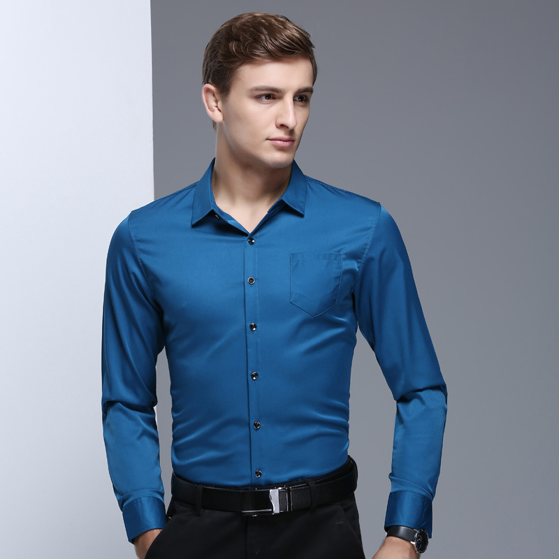 2e6d0de515 2018 New Arrival Men s Solid Color Black Shirts Slim Style Spring Summer  Smart Casual Long Sleeves Business Man Clothing MST135-in Dress Shirts from  Men s ...